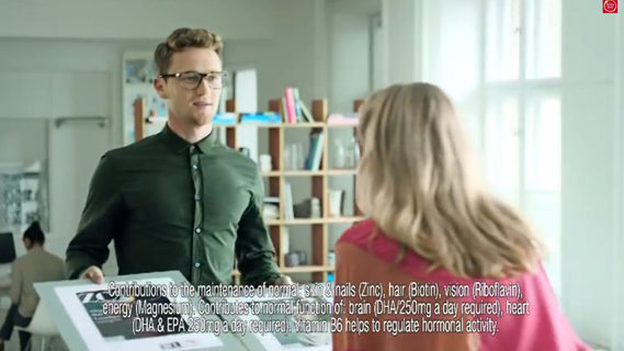 Supplements brand Seven Seas' Perfect 7 ad features magazine editor Sarah flirting with her young male assistant