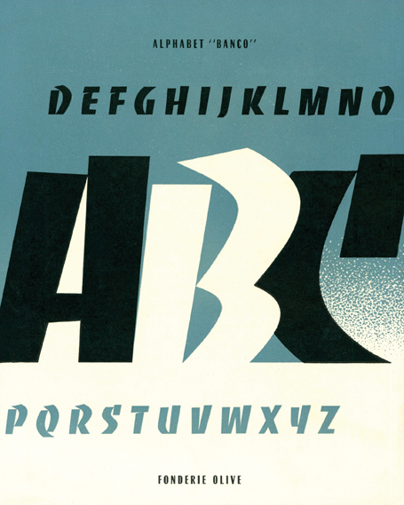 Banco type specimen from the Olive foundry (c.1951)