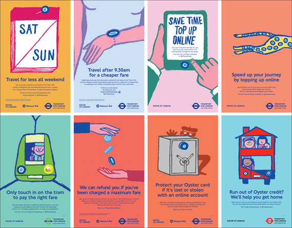 Posters for Transport for London campaign. Agency: M&C Saatchi