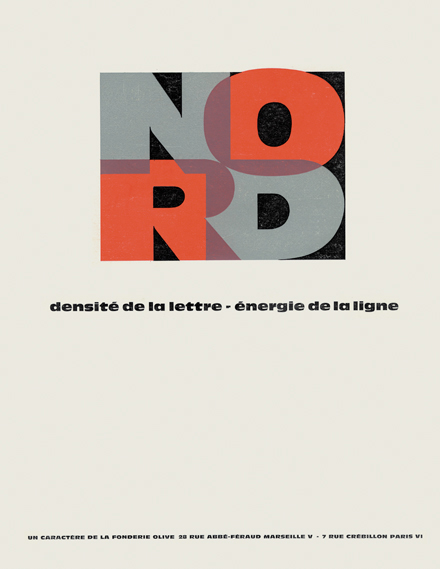 Press ad for the Nord typeface, as featured in Techniques Graphiques in 1959
