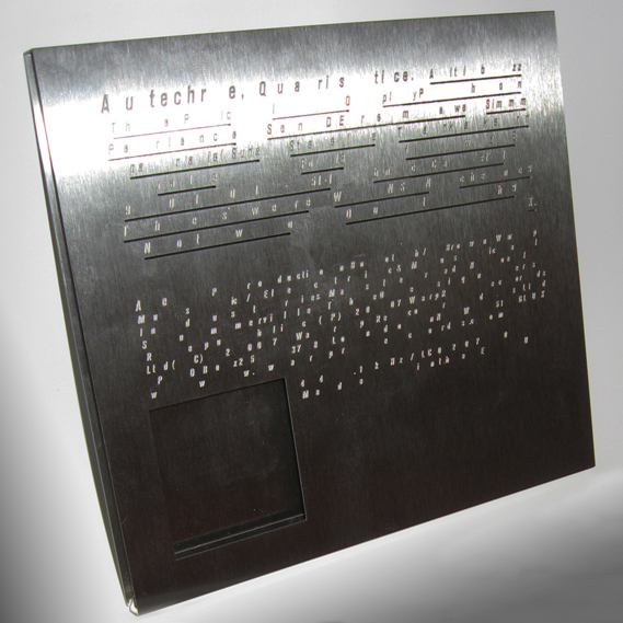 A steel etched box set for Autechre's 2009 album, Quaristice, named best in book in CR's Annual from the same year