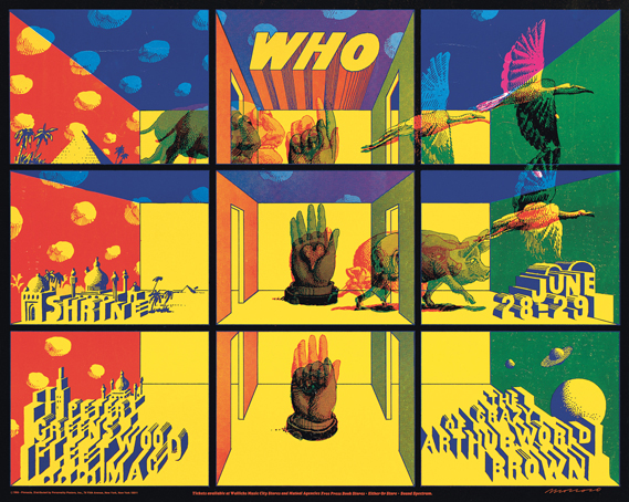 The Who Shrine Auditorium concert poster by John Van Hamersveld and Victor Moscoso, 1968