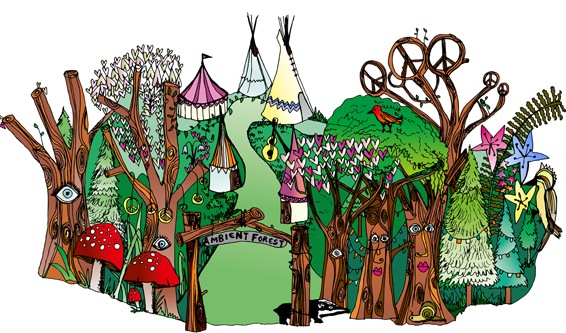 Illustration by da Bank of the Ambient Forest for the Venues section of the website