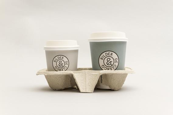 Coffee cups featuring Bilder & De Clercq branding