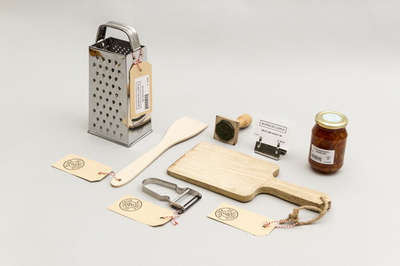 As well as meals, Bilder & De Clercq stocks kitchen products, often made by local artisans. Shown here is a selection of items sold in store, with labels that show the company's branding, designed by Dutch creative agency ...,staat