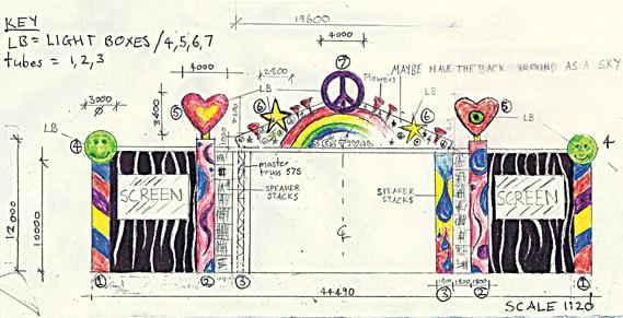 Original sketch for Bestival's 2010 main stage designed by Josie da Bank