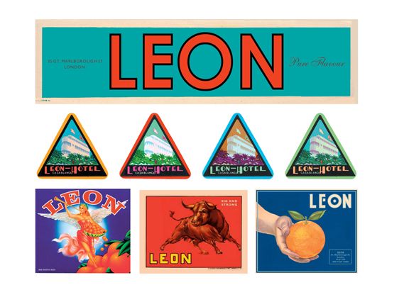 More visuals designed by Curtis, intended to evoke the freshness, flavours and sunshine of the Mediterranean. The lettering (top) is often used in Leon's signage, while the image of an orange, below right, was used on the cover of its Naturally Fast Food book