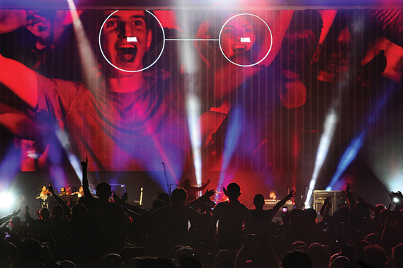 For Kasabian's 48:13 tour, Silent Studios worked with creative director Aitor Throup and Andreas Muller to create visuals using interactive face-tracking software, which picked out fans' faces from the crowd