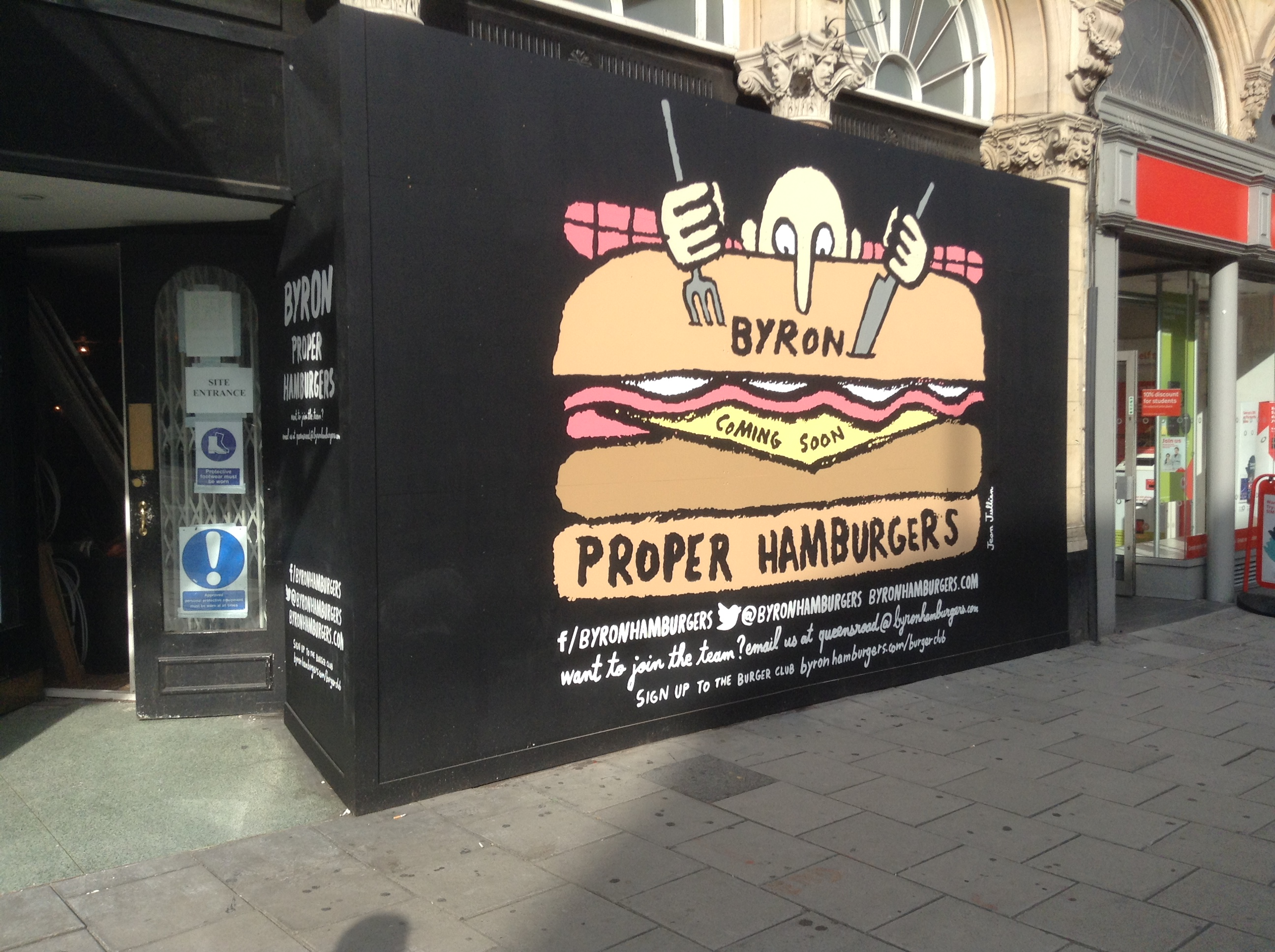 Hoarding for Byron restaurant in Bristol