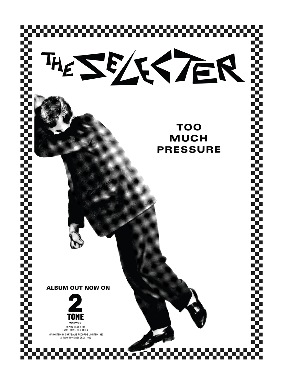 Poster designed by David Storey for The Selecter's debut, Too Much Pressure