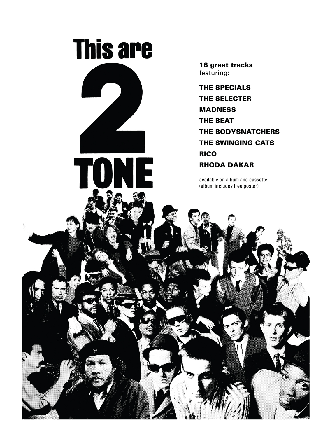 Poster designed by David Storey for the release of albums This Are 2 Tone and The Selecter's debut, Too Much Pressure