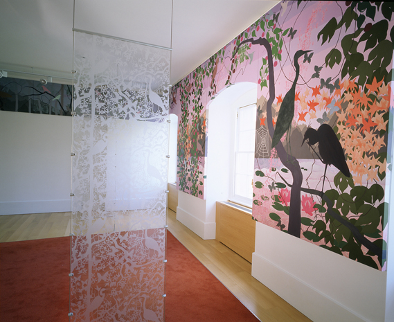 James Aldridge's 2004 installation, Twilight, at the Barts Health Breast Care Centre in London. The series of painted screens that frame the windows of the second floor waiting room were commissioned by Vital Arts