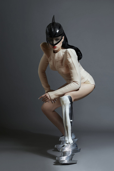 Singer Viktoria Modesta in a light-up leg designed by de Oliveira Barata, Kaos art, Natalie Ellner and Doug McCarthy for Prototype (image: Channel 4)