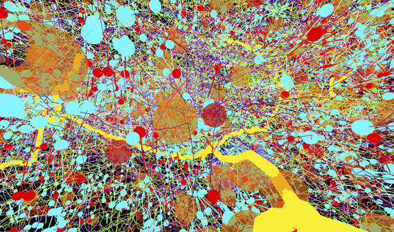 Transmission electron micrographs create a colour-coded map of part of the nervous system, in this Jackson Polleck-esque image by Albert Cardona (HHMI Janelia Research Campus, Virgina, USA)