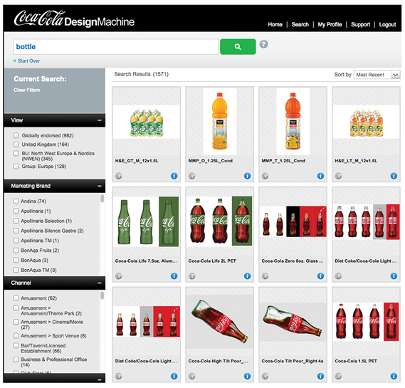 Inside the Design Machine, Coca-Cola's online system for creating localised but on-brand marketing materials. Users can access assets, design their material, submit for approval and even send it to print via the site