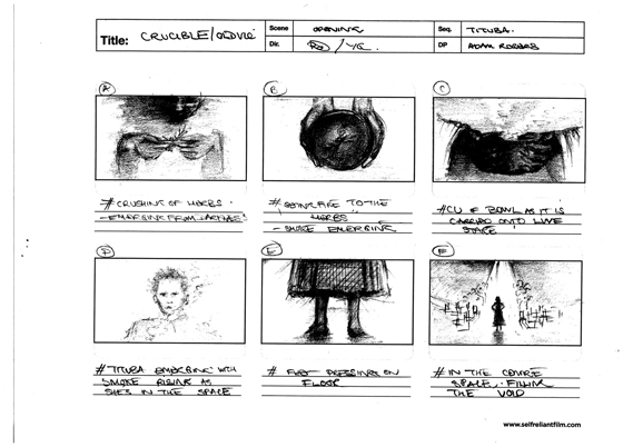 A page of Digital Theatre creative director Robert Delamere's storyboards, made for the filming of the play