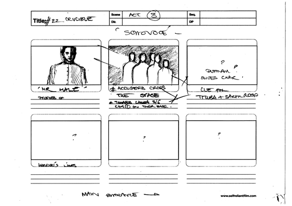 Another page of Digital Theatre creative director Robert Delamere's storyboards