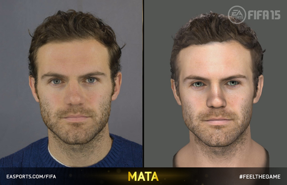 Photo and render of Juan Mata of Manchester United