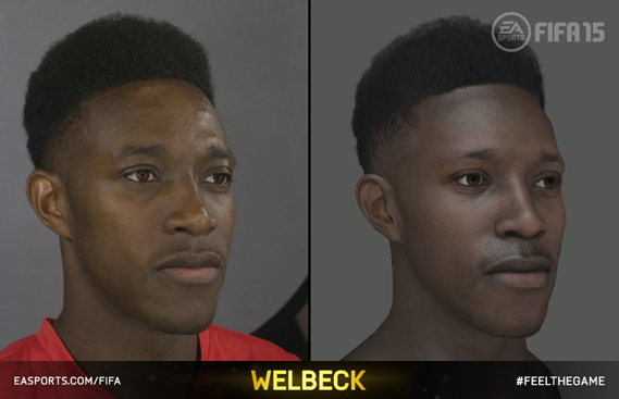 Leading players' likenesses are created by a motion capture photography team who take their rig to visit each squad. Shown here is a photo and render of Arsenal's Danny Welbeck