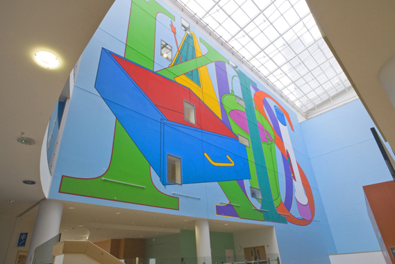 Michael Craig Martin's artwork in the John Radcliffe Hospital in Oxford, commissioned by Oxford University Hospitals' artlink programme