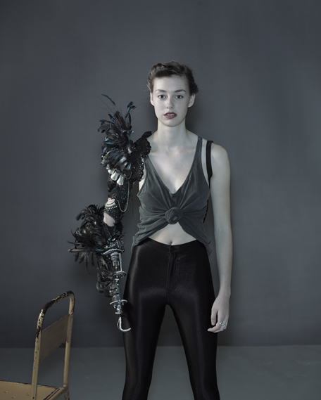 Actor Grace Mandeville in a metal, feather and beaded arm created by de Oliveira Barata and Rowena Vickerman (photo by Nadav Kander, 2013)