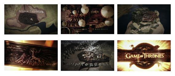 Game of Thrones (2011) TV titles (HBO). Creative dir.: Angus Wall. Prod. studio: Elastic. Art dir.: Rob Feng. Designers: Chris Sanchez (lead), Henry De Leon, Leanne Dare