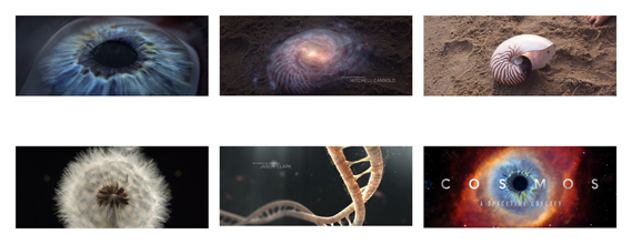 Cosmos: A Spacetime Odyssey (2014) TV titles (Fox). Creative dirs.: Curtis Doss, Shaun Collings. Studio: Big Block Design Group. Designers: Curtis Doss, Rob Glazer, Grant Hoki, Victor Latour, Danielle Romero, Oliver Scott, Nick Tolve, Dakota Warren, Filipe Carvalho