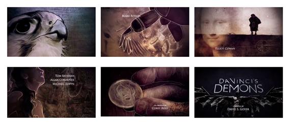 Da Vinci's Demons (2013) TV titles (Starz). Creative dir.: Paul McDonnell. Art dirs.: Hugo Moss, Tamsin McGee. Studio: Huge Designs. Illustrators: Nathan McKenna (lead), Maria Arnal, Vanessa Samuels