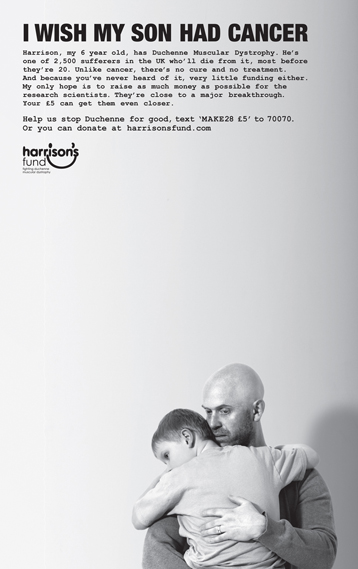 Poster for Harrison's Fund, a charity that funds research into Duchenne Muscular Dystrophy. Agency: ais London