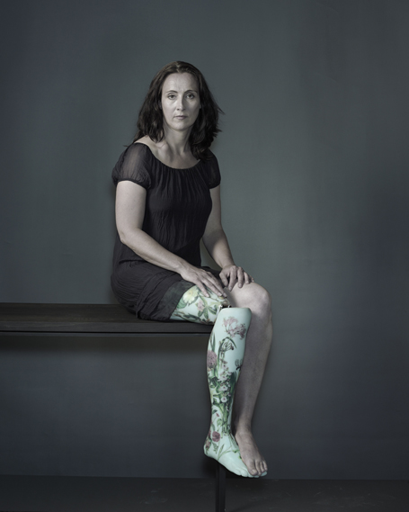 Sophie de Oliveira Barata, founder of The Alternative Limb Project, poses with one of her realistic limbs (photo by Nadav Kander, 2013)