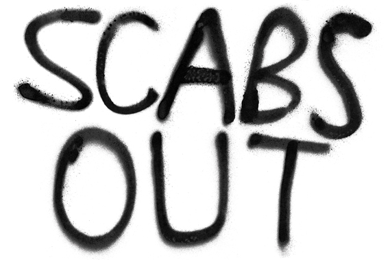 Image result for scabs against the picket line