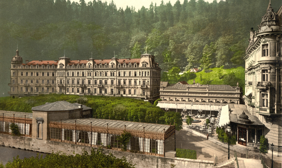 For The Grand Budapest Hotel, Anderson was inspired by a series of Photocrom images of Europe (colourised black and white photos) found on the Library of Congress website. Shown here is the Grandhotel Pupp in the spa town of Karlovy Vary (then Carlsbad), Czech Republic (Library of Congress Photochrom Print Collection)