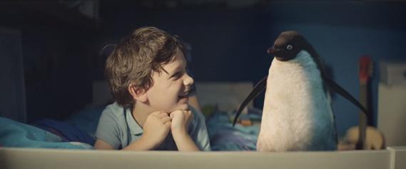Still from John Lewis Monty The Penguin Christmas ad