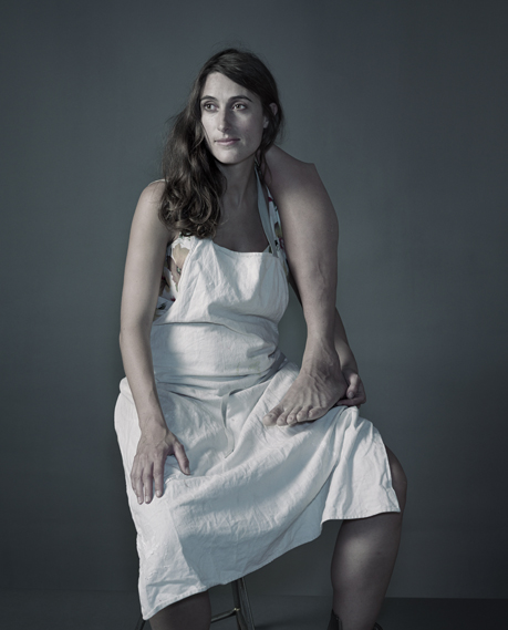 Keira Roche, chairperson of charity Limb Power, wears a floral porcelain leg created by de Oliveira Barata and fitted by ProActive Prosthetics (photo by Nadav Kander, 2013)