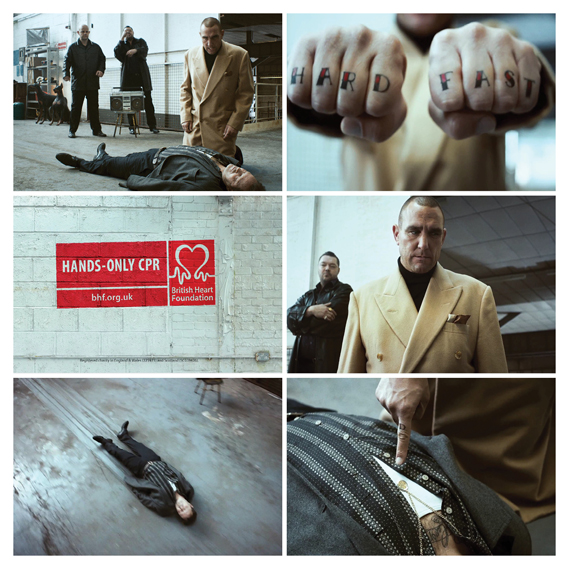 Stills from the British Heart Foundation's 2011 ad, which starred Vinnie Jones demonstrating hands-only CPR in amusing fashion. Agency: Grey London; Director: Wayne McClammy
