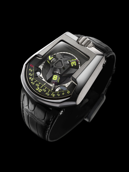 "Urwerk's UR-CC1 model features ""jumping hours and retrograde minutes"". See urwerk.com"