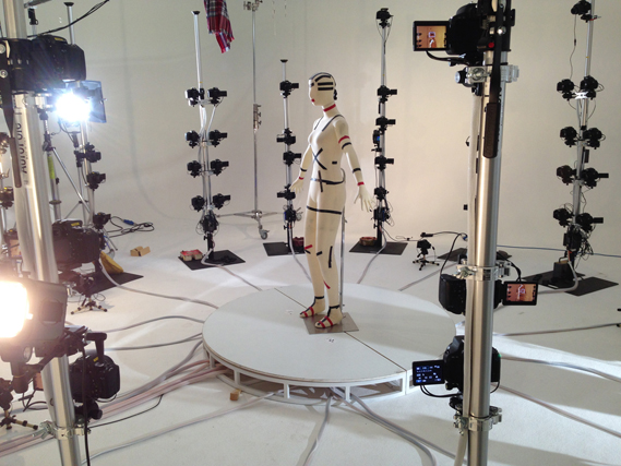 FBFX's gargantuan 3D scanning rig is used to capture accurate 3D scans of actors for costume and prop making. The rig is composed of over 100 DSLR cameras