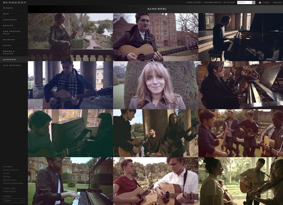 Website Burberry Acoustic features performances by several UK bands