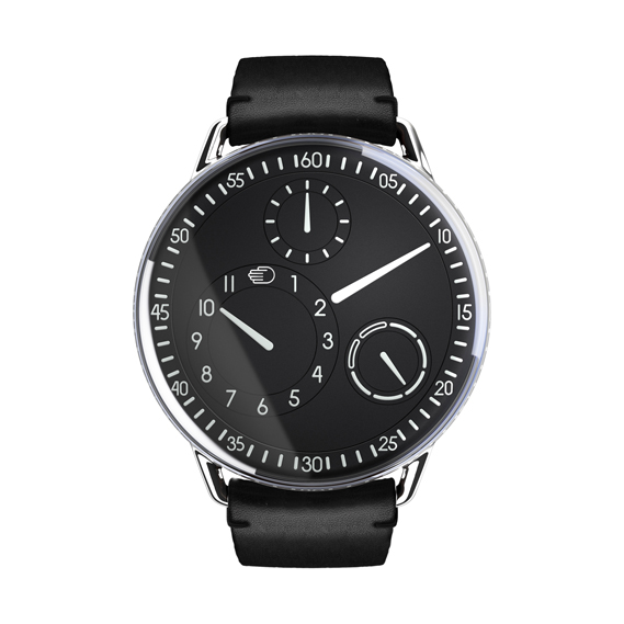 Type 1 watch by Ressence, which replaces traditional hands with non-overlapping rotating disks. See ressence.eu.