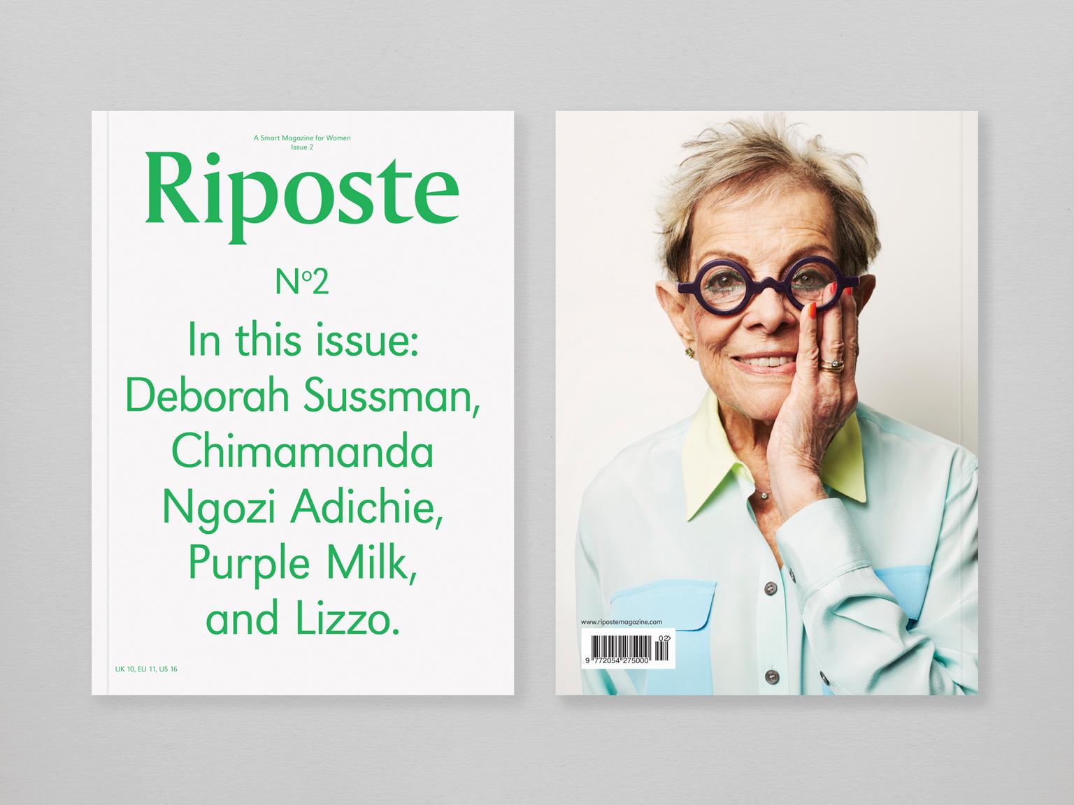 Cover of Riposte magazine issue 2, starring the late designer Deborah Sussman