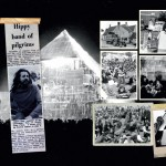 Page from the 40th anniversary scrapbook (2010), with exclusive material from the personal archives of the Eavis family, including a photo of the original Pyramid Stage from 1971 (image: Glastonbury Festival/V&A)