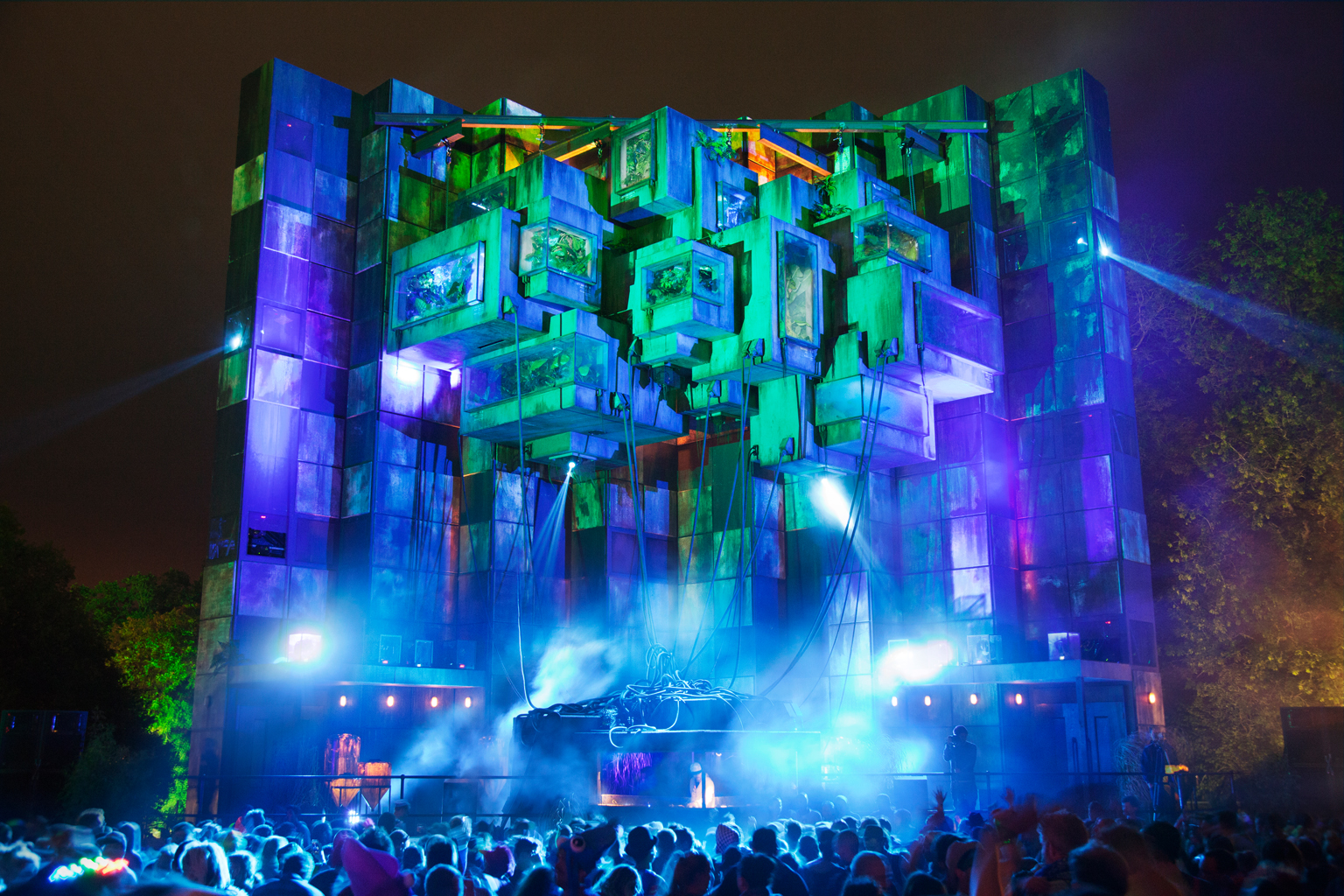 Genosys, in Block9, a large scale night-time dance music stage made from concrete and glass (Photo: Peter Podworski/Block9)