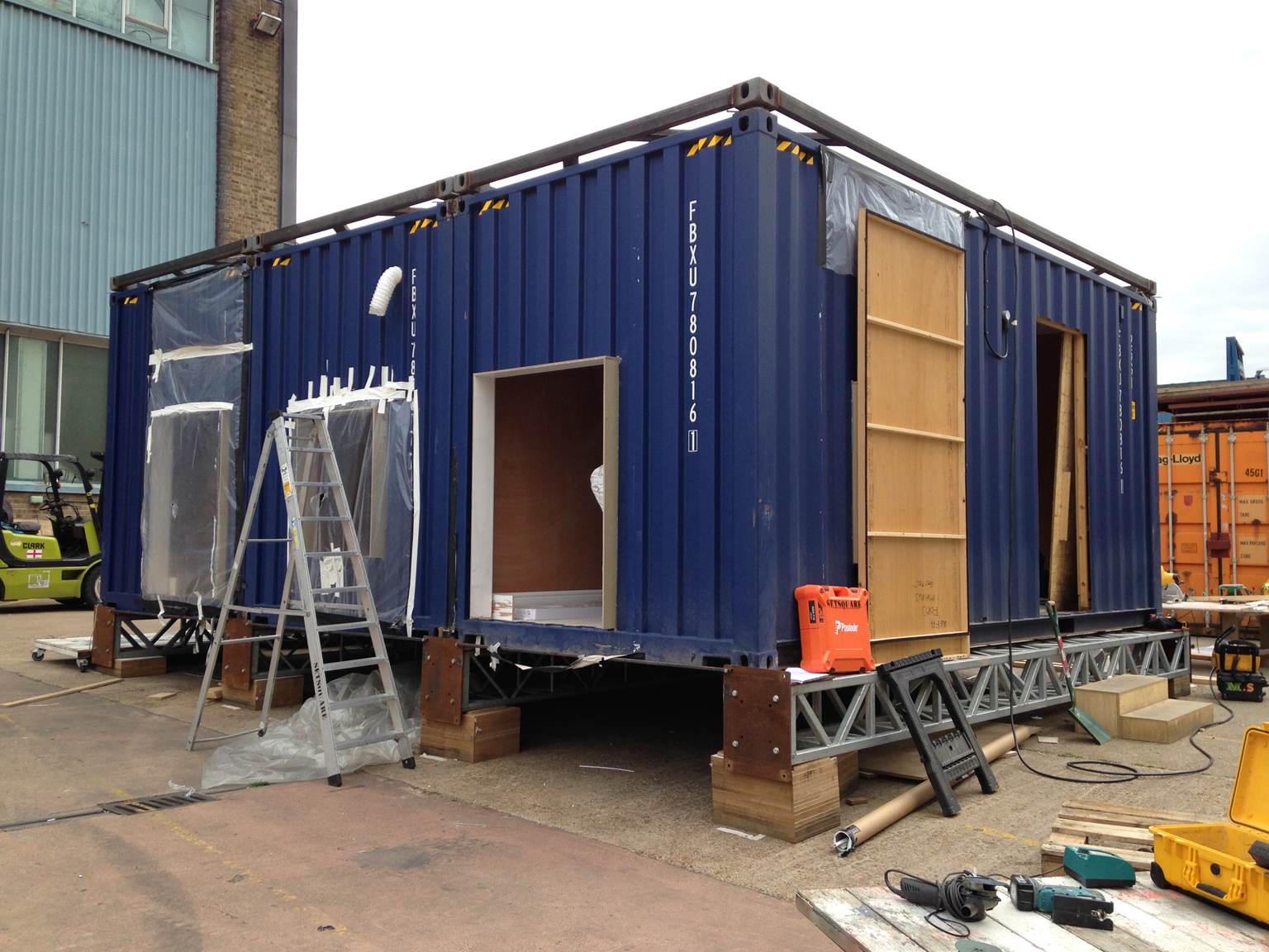 Shipping containers used to build the structure