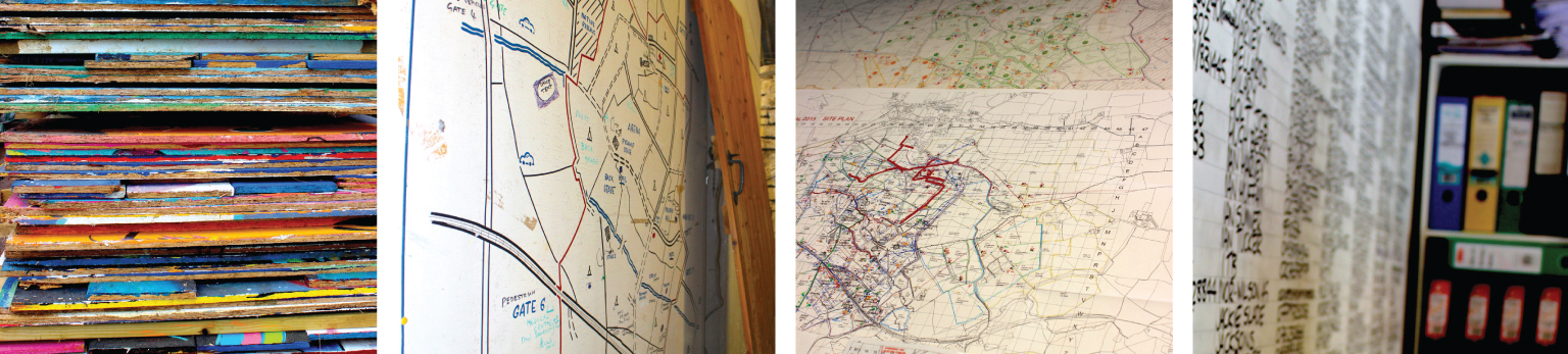 (L to R): Flat-packed venue sets; a map found in the old wagon shed (and former Glasto HQ), showing the former, much smaller site; Current infrastructure maps; Inside Michael Eavis's office, with useful numbers written on the wall. (Photography: Antonia Wilson)
