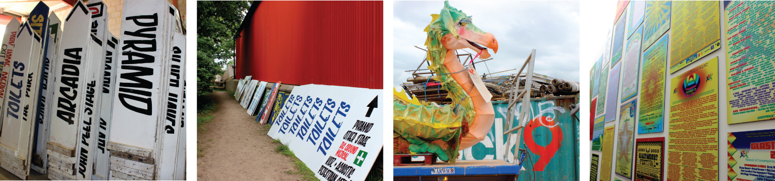 (L to R): Stage signs in the workshop; Newly-painted toilet signage; A dragon from the Kidz Field in front of the Block9 shipping container; A wall of posters showing previous line-ups in the office. (Photography: Antonia Wilson)