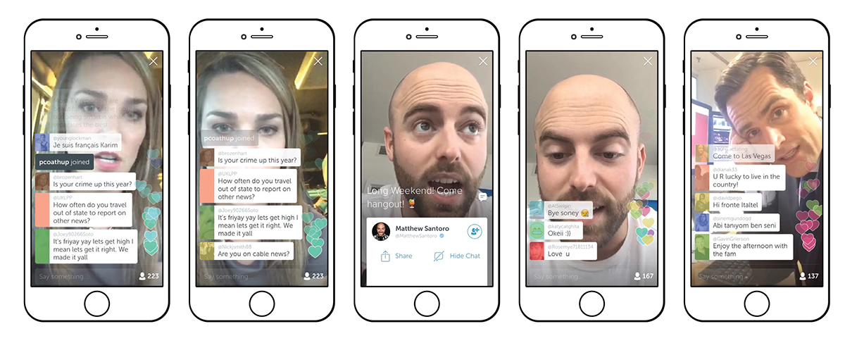 Journalist and blogger Kelly Davis answers questions from some of her 223 viewers; YouTuber Matthew Santoro entertains his audience of 167; Max Foster of CNN London discusses his work.