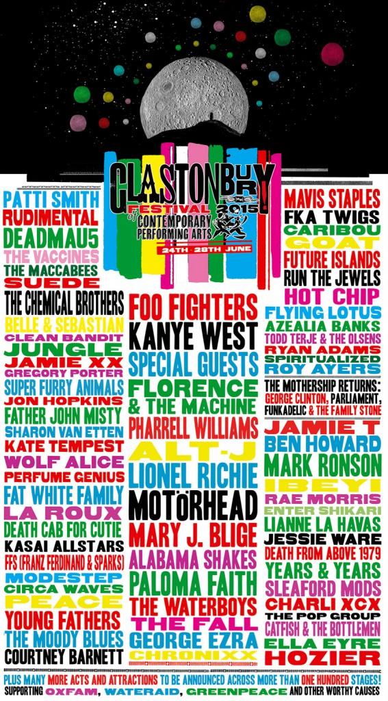Poster from the 2015 festival (image: Glastonbury Festival/V&A)