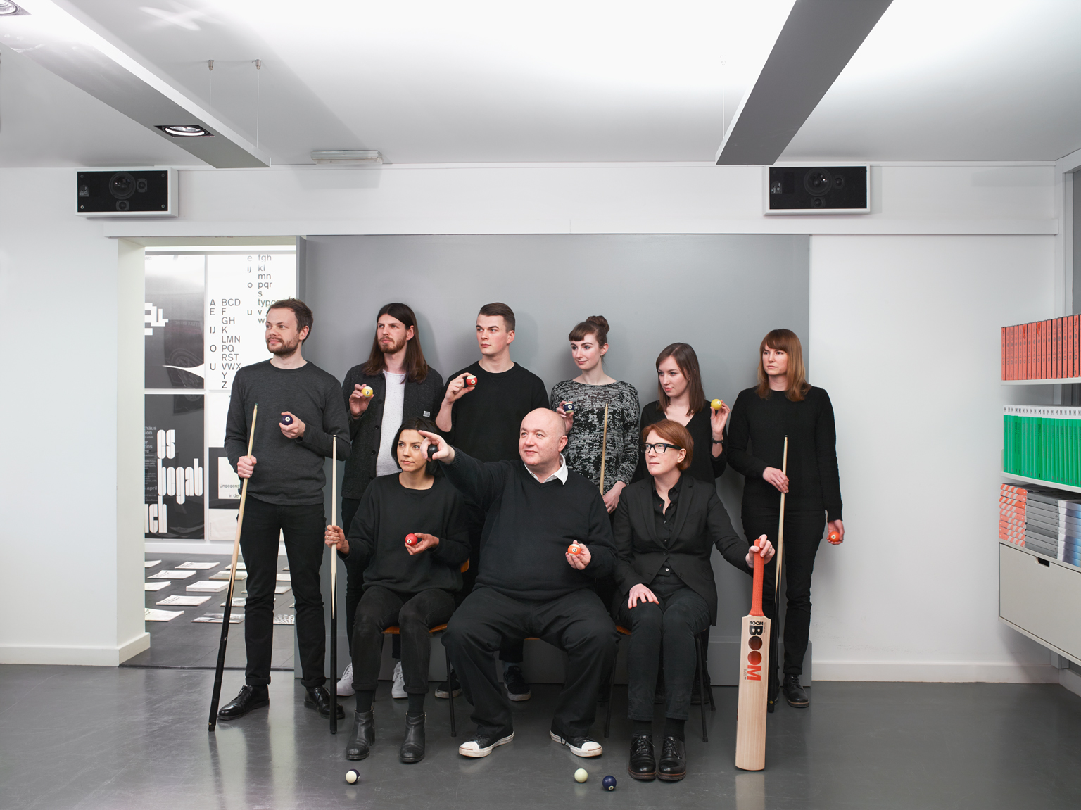 The current Spin and Unit Editions team. Back row, left to right: Sam Stevenson, Callin Mackintosh, Jack Grafton, Anna Souter, Rachel Dalton and Linne Jenkin. Front row, left to right: Claudia Klat, Tony Brook and Patricia Finegan. The studio name was inspired by Brook's obsession with cricket and, in particular, a fascination with Yorkshire spin bowler Hedley Verity who played for England in the 1930s.