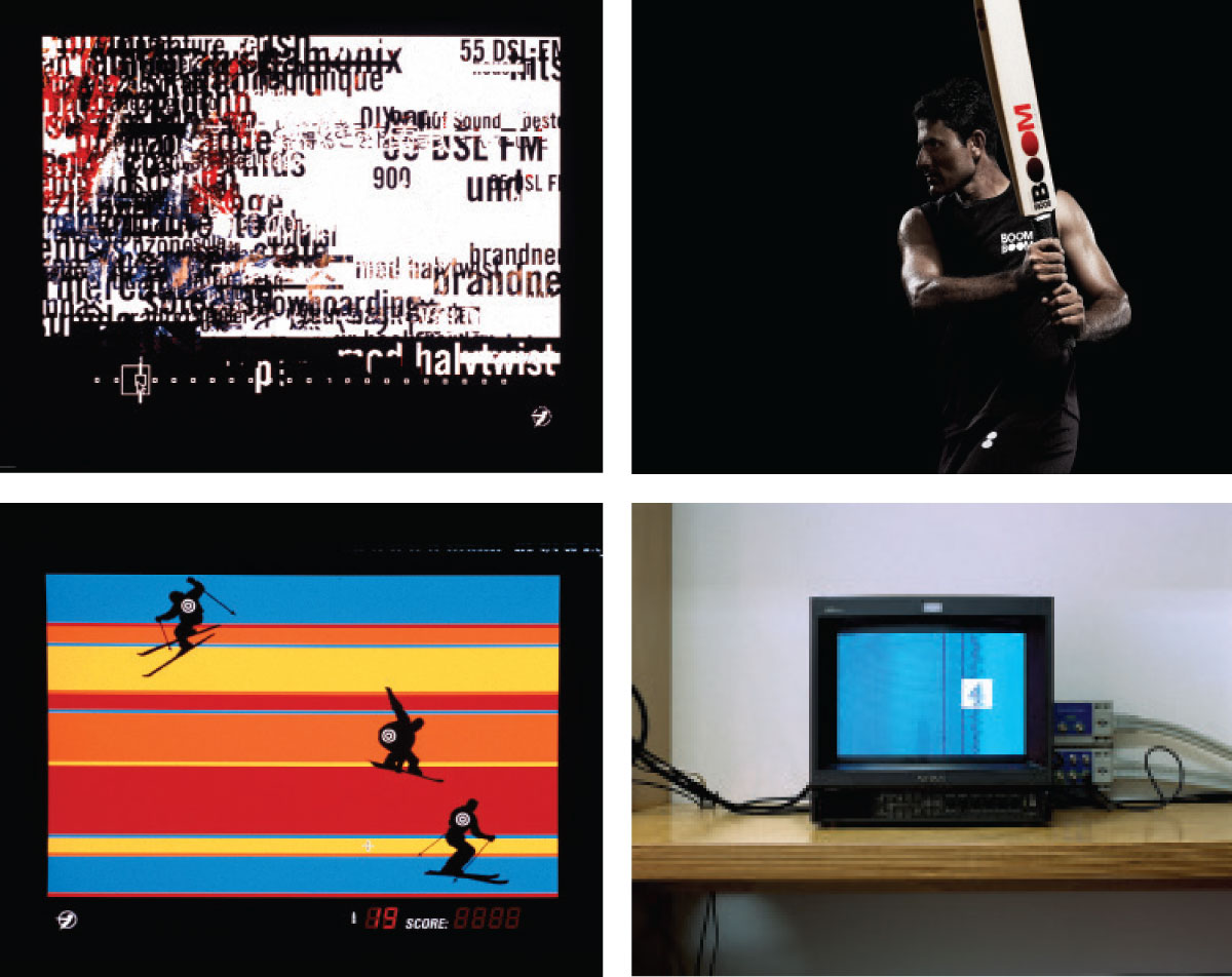 Clockwise from bottom-left: Two stills from Spin's CD-ROM project for Diesel 55 DSL, 1997; Photography commission by Ruud Baan for cricket brand Boom Boom, art directed by Spin, 2009. The studio also designed the identity; Channel 4 ident, part of a series of projects (including a rebrand) carried out for the channel from 1998 to 2002. Photograph by Andrew G Hobbs