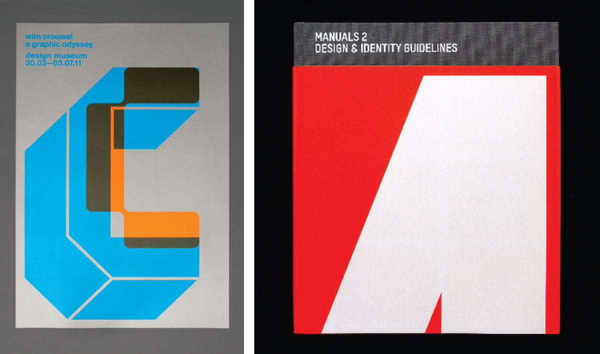 Left: Poster for Wim Crouwel: A Graphic Odyssey exhibition at the Design Museum in London, 2011. Tony Brook co-curated the show with the museum's Margaret Cubbage, Spin designed the identity and graphics for the show, while Unit Editions published the catalogue. Right: Manuals 2, published by Unit Editions in 2014. Unit was set up by Brook and Adrian Shaughnessy in 2009